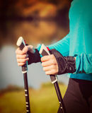 Woman's hand holding nordic walking poles Royalty Free Stock Photos