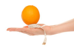 Woman's hand holding orange Royalty Free Stock Image