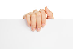 Woman's hand holding paper Stock Images