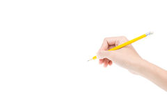 Woman's hand holding a pencil Royalty Free Stock Photos
