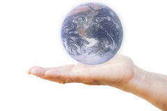 Woman`s hand holding planet Earth Royalty Free Stock Photos