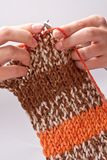 Woman's hand knit knitting yarn Stock Images
