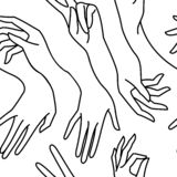 Woman`s hand line black and white seamless pattern. Vector endless background of female hands vector illustration