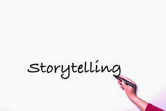 Woman's hand with pen on whiteboard writing storytelling Royalty Free Stock Photos