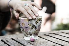 Hand Resting on a Mug royalty free stock photo