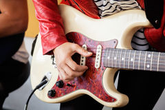 Woman's Hand Playing Electric Guitar In Recording Royalty Free Stock Photo