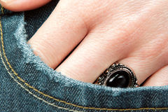 Woman's hand in the pocket Royalty Free Stock Photography