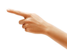 Woman's hand points a finger at something Stock Photography