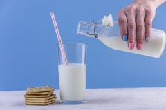 Woman's hand pours fresh milk from a bottle into a glass and cookies on a blue background. Healthy dairy products. A woman's hand pours fresh milk from a glass stock photography
