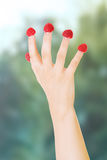 Woman's hand with raspberries on fingers. Royalty Free Stock Photos