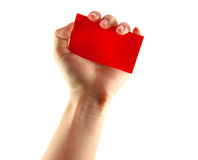 Woman's hand and red card Royalty Free Stock Image
