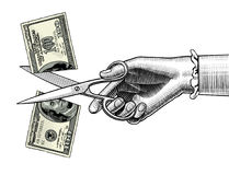 Woman`s hand with scissors cutting a 100 dollar banknote. Concept of money sharing. There is in addition a vector format EPS 8 vector illustration