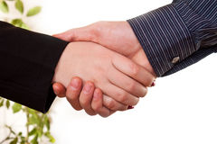 Woman's hand shaking a man's hand Stock Image