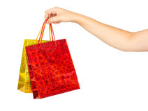 Woman's hand with shopping bags Stock Image