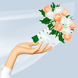 Woman`s hand and throwing wedding bouquet. Wedding and Bride Throw concept illustration. There is in addition a vector format EPS 8 Royalty Free Stock Photos