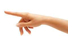 Woman S Hand Touching Or Pointing To Something Royalty Free Stock Images