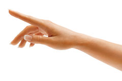 Woman's hand touching or pointing to something Stock Photos