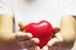 The woman`s hand is wearing a white t-shirt holding a small heart in her hand stock images