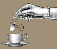 Free Woman`s Hand With A Coffee Cup And Spoon Royalty Free Stock Images - 97893989