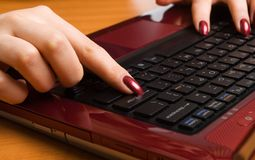 Woman's hand working on laptop Stock Image
