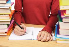Woman's hand writing Stock Photo