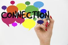Woman`s hand writing word connection on colorful conversation bubbles. Communication concept.  Stock Image
