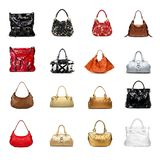 A womans handbag on a white variety stock photography
