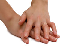 Woman's hands. Hands of married woman. Isolation Royalty Free Stock Photos