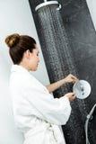 Woman's hands beneath shower of water. Stock Image
