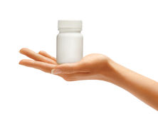Woman's Hands with bottle for medical pills Stock Photos
