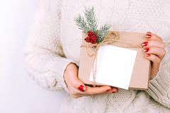 Woman`s hands with christmas gift box Stock Photography