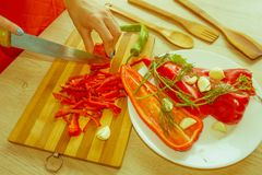 Woman`s hands cutting bell pepper, behind fresh vegetables Royalty Free Stock Photo