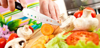 Woman's hands cutting vegetables Stock Photos