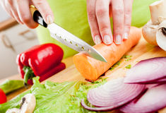 Woman's hands cutting vegetables Stock Images