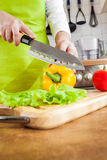 Woman's hands cutting vegetables Royalty Free Stock Image