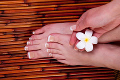 Woman's hands and feet Royalty Free Stock Photos