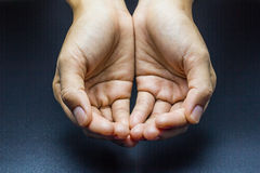 Woman`s hands, hands of the hungry. Woman`s hands, hands of the hungry on a black background Stock Photography