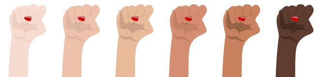 Woman`s hands with her fist raised up. Symbol of Unity, Revolution, Protest, Cooperation and Solidarity. Race Equality. Vector. stock illustration