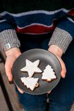 Woman`s hands hold plate with Christmas cookies. royalty free stock images