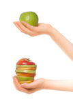 Woman's hands holding apples Royalty Free Stock Images