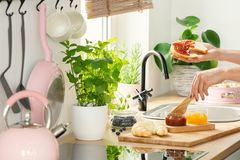 Woman`s hands holding a breakfast French bread roll and spreading fruit jam in a white kitchen interior with pink elements and he royalty free stock photos