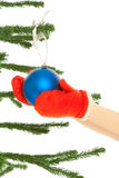 Woman's hands holding christmas toy Royalty Free Stock Photos