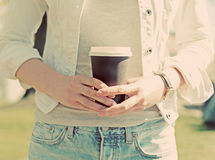Woman's hands holding coffee. Royalty Free Stock Photo