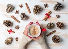 Woman`s hands holding mug of coffee with cinnamon, star anise and pine cones over white wooden table. stock photos