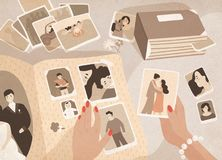 Woman`s hands holding old photographs, sorting them out and attaching to pages of photographic album or photo book royalty free illustration