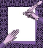 Woman`s hands holding a paper sheet and feather pen on decorativ. E retro background. Vintage engraving stylized drawing in lilac colors. Vector illustration stock illustration