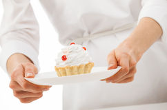 Woman's hands holding plate Royalty Free Stock Photography