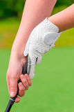 Woman's hands holding putter close-up Stock Images