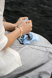 Woman's hands holding scarf. Young woman wait for somebody Stock Images
