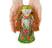 Woman's hands  keep  a Russian doll. Stock Images